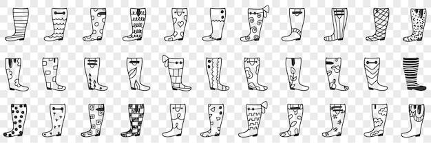 ゴム長靴は落書きセットをデザインします。透明な背景に分離された雨天時の履物の着用のためのゴム長靴の手描きのさまざまなデザインとパターンのコレクション