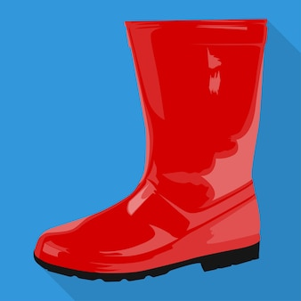 Rubber boots woman shoes isolated flat icon