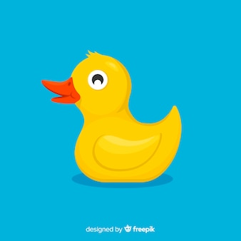 Rubber duck toy on blue background