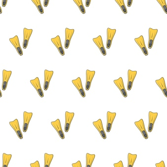 Rubber flippers seamless pattern on a white background. diving equipment theme vector illustration