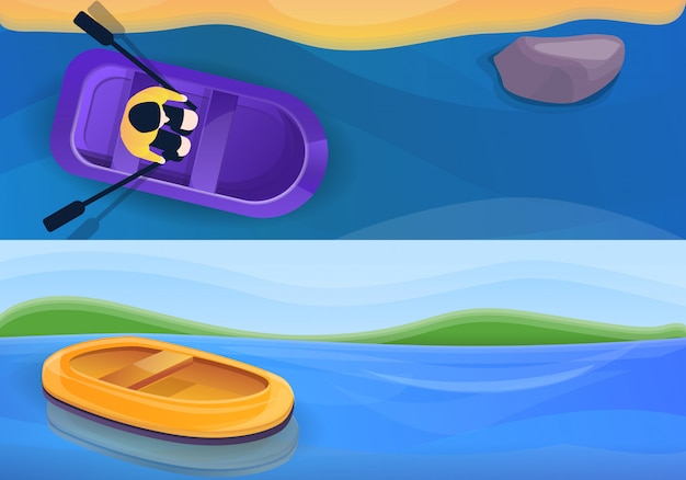 Rubber inflatable boat illustration set, cartoon style