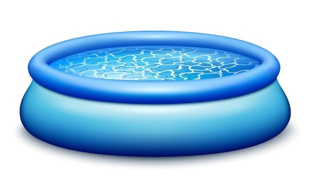 Резиновый переносной бассейн. наполнен лазурной чистой водой. для купания, развлечений на свежем воздухе. значок реалистичного изображения. на белом фоне изолированы. вектор.