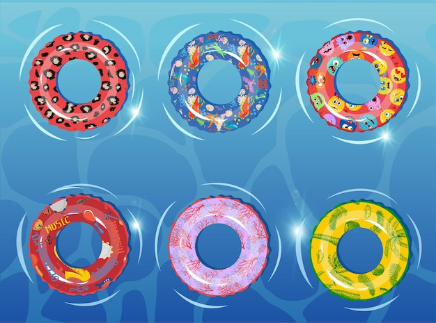 Rubber rings set on against the background of the water basin swimming ring colorful rubber toy realistic icons