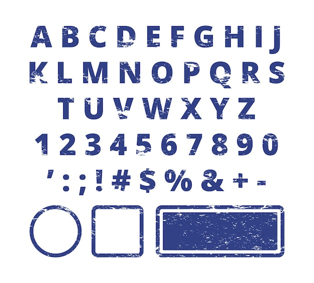 Rubber stamp font. red letters and numbers template typography for stamp.