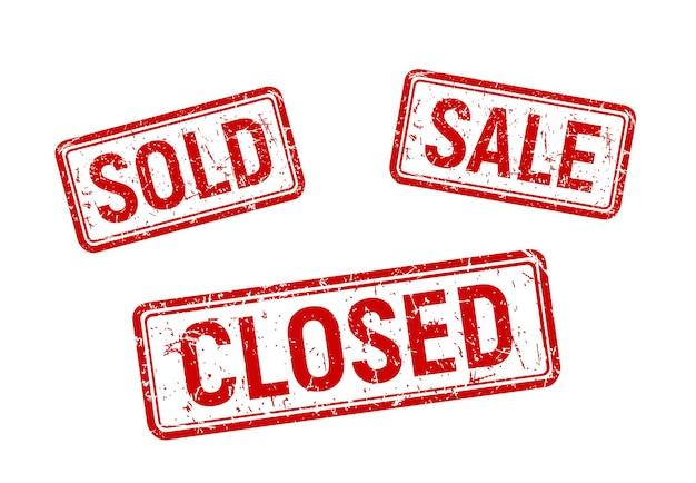 상점 판매 프로모션 고무 스탬프 판매 및 폐쇄 빨간색 판매 배지 세트 템플릿
