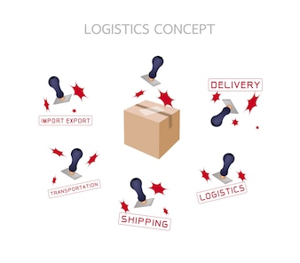 Rubber Stamp With Logistics and Transportation Concepts