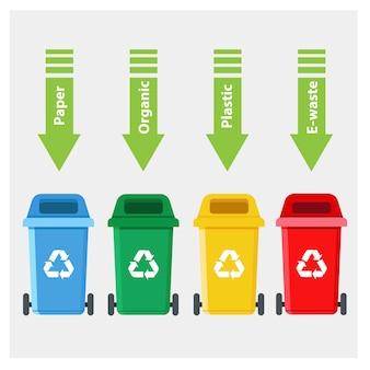 Мусорные баки для утилизации различных видов отходов. красочная иллюстрация. изолированные на белом