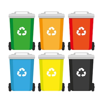 Rubbish container. rash bin and garbages, vector concept