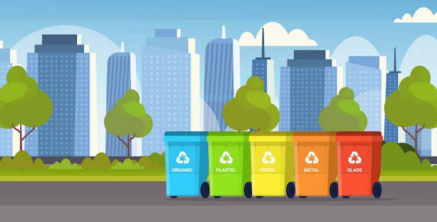 Rubbish containers different types of recycling bins waste sorting management environment protection concept modern cityscape background flat horizontal