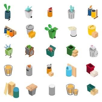 Rubbish heap icon set