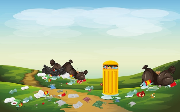 공원 장면의 쓰레기