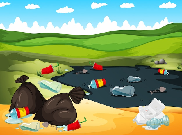 川と地面にゴミ