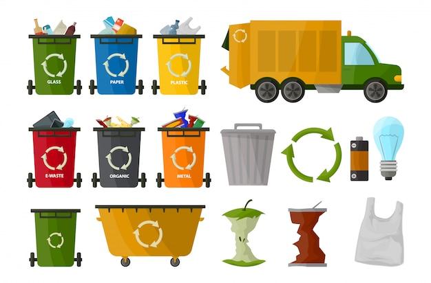 Мусор грузовик и набор банок. элементы мешков для мусора.
