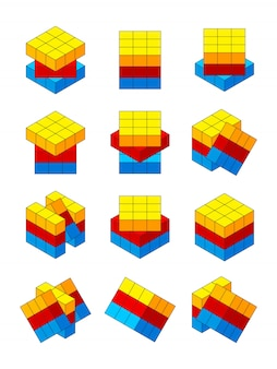 Rubiks cube. various positions of isometric rubiks cube