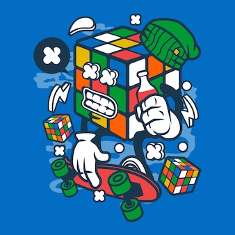 Rubix cube skater cartoon character