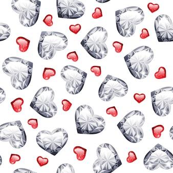 Ruby and diamond gem hearts seamless pattern