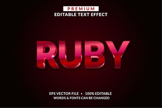 Стиль шрифта эффекта редактируемого текста ruby Premium векторы