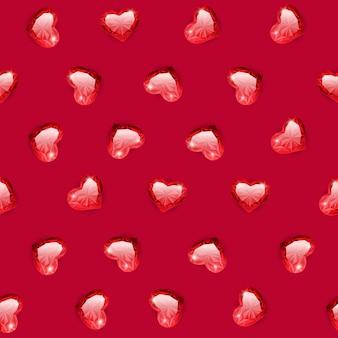 Ruby gem hearts seamless pattern