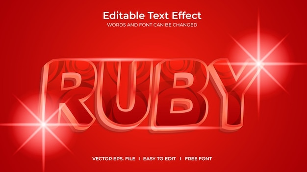 Ruby illustrator editable text effect template design