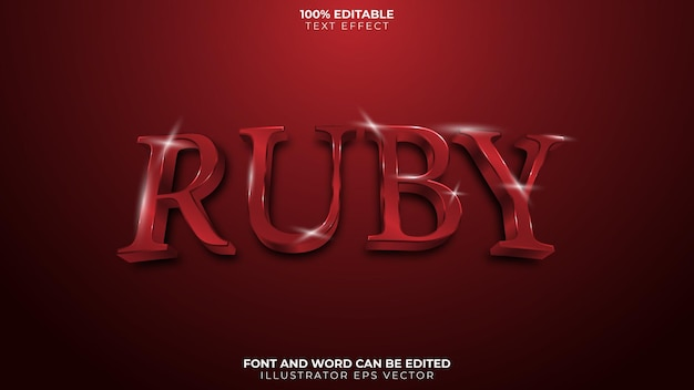 Ruby text effect full editable red blood shiny gem
