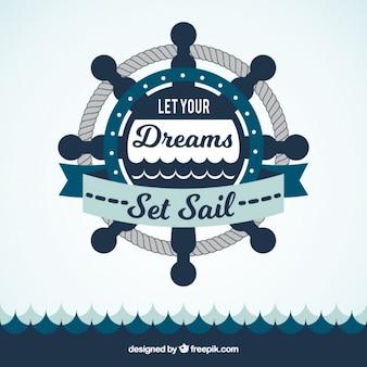 Руль направления и море фон с вдохновляющей фразой