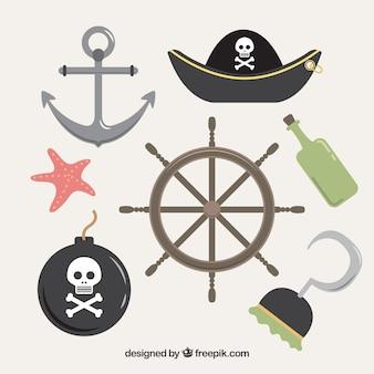 Elementi di timone e pirata in design piatto