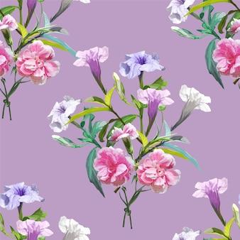 Ruellia tuberosa 보라색 봄 꽃 원활한 패턴 일러스트