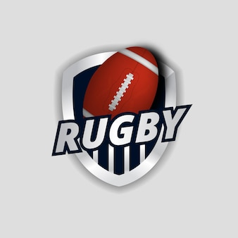 Rugby or american football sporty emblem shield logo for strong and 3d oval ball realistic for team, club, university