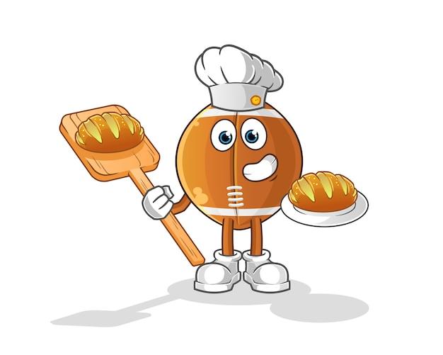 ラグビーボールのパン屋のパンの漫画のキャラクター