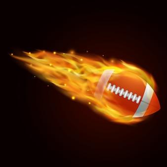 火災効果イラスト付きラグビーボール