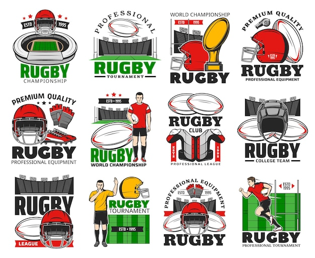 Rugby championship, college team and equipment shop icons