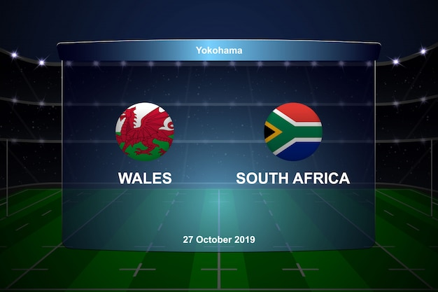 Rugby cup scoreboard broadcast graphic