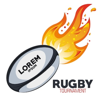 Rugby goal tournament with flames