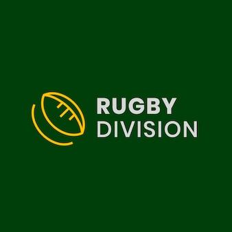 Modello di logo di rugby, grafica aziendale del club sportivo in un vettore di design moderno