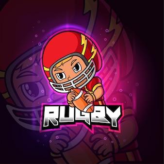 Регби талисман киберспорт красочный логотип