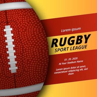 Объявление плаката соревнований спортивной лиги по регби или американскому футболу с реалистичным 3d-видом овального мяча