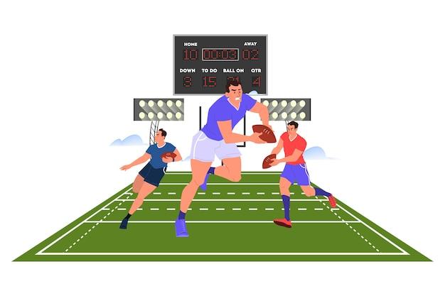 Игрок в регби работает с мячом. тренировка регбистов.