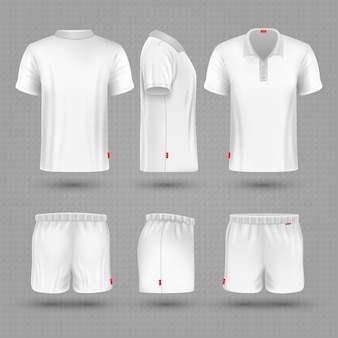 Rugby shorts and t shirt white blank man sport uniform set.