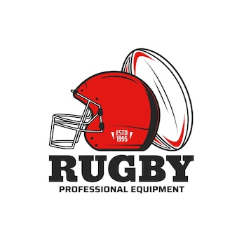 Rugby sport icon with rugby football game ball and scrum cap or helmet