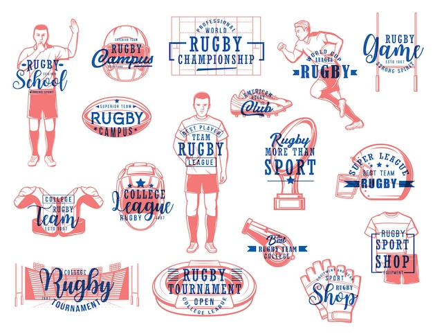 Rugby sport vector icons. american football game