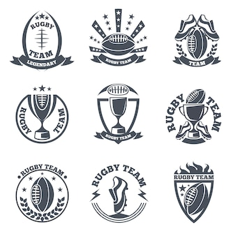 Rugby team  badges and logos. sport football, emblem ball