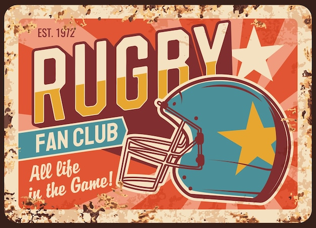 Rugby team fan club rusty metal plate