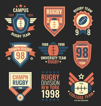 Rugby team labels set. college sport team badges, grunge emblems, university community patches in retro vintage style with text. vector illustrations collection isolated on black background