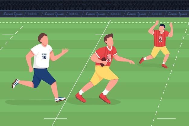 ラグビーユニオンフラットカラーイラスト。アスリートはアメリカンフットボールをします。フィールドでのリーグ戦。チームトレーニング。背景に風景とプロのスポーツ選手2d漫画のキャラクター