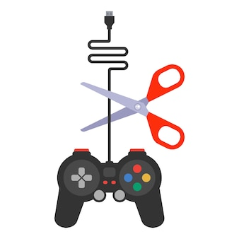Ruin the gamepad by cutting the wire with scissors. flat vector illustration.