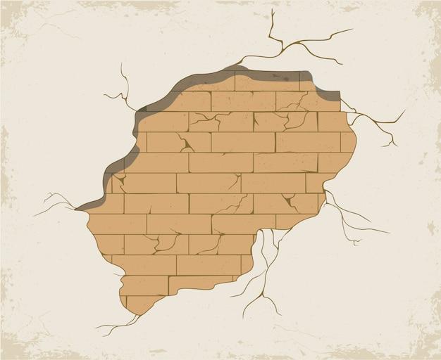 Разрушенная стена, дыры и трещины в стене. старые потертые бетонные и кирпичные трещины. отдельный элемент для декора стен. трещины
