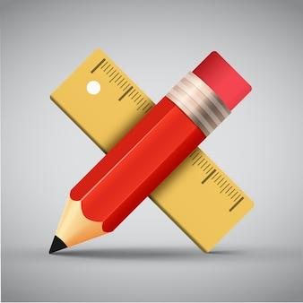 Линейка и карандаш