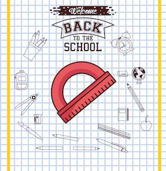 Ruler on checkered paper background design, back to school eduacation class and lesson theme