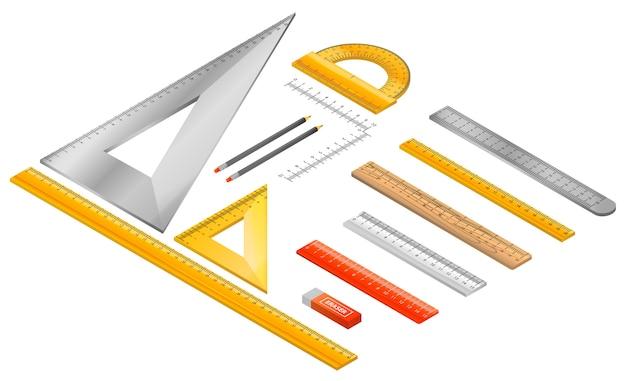 눈금자 아이콘 세트입니다. 흰색 배경에 고립 된 웹 디자인을위한 눈금자 벡터 아이콘의 아이소 메트릭 세트