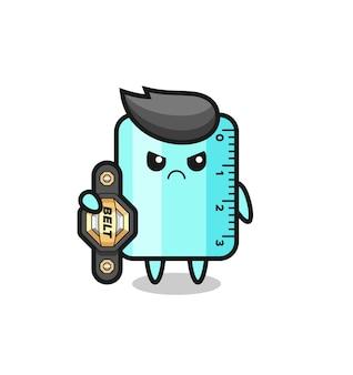 챔피언 벨트가 있는 mma 전투기로서의 눈금자 마스코트 캐릭터, 티셔츠, 스티커, 로고 요소를 위한 귀여운 스타일 디자인